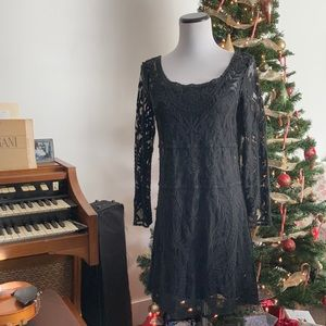 Express Black Lace Pullover A-line Dress, Size S
